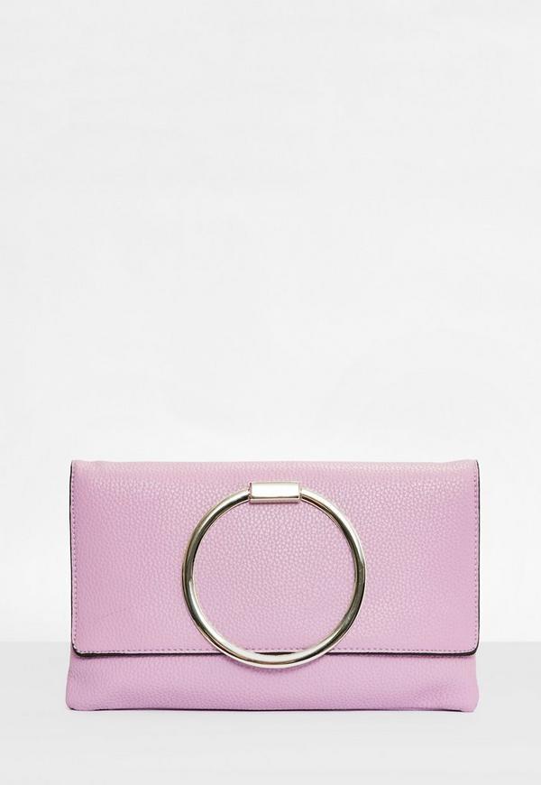 Lilac Circle Handle Clutch Bag