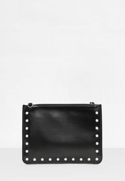 Black Pearl Studded Zip Top Clutch Bag