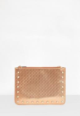Rose Gold Pearl Studded Zip Top Clutch Bag