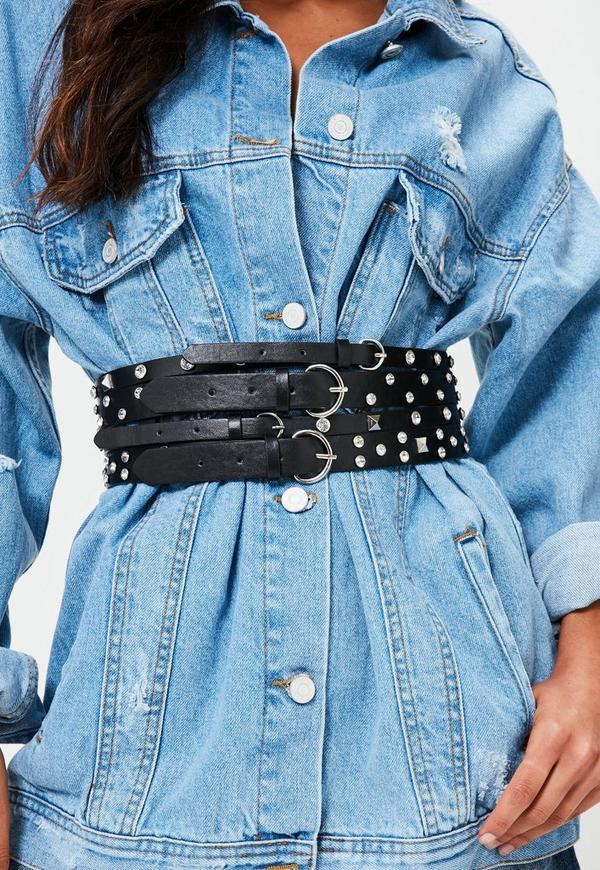 Black Jewelled Waist Belt