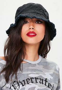 Black Distressed Bucket Hat