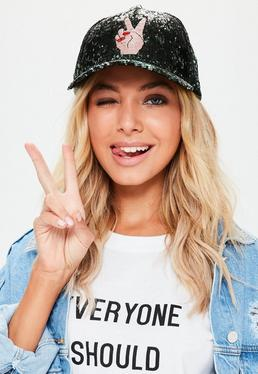 Black Peace Out Sequin Cap