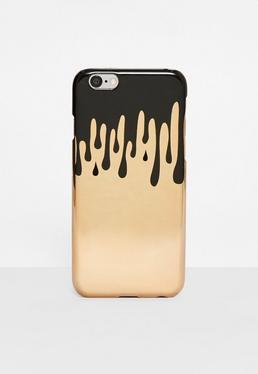 Funda para Iphone 6 plus con gotas en dorado