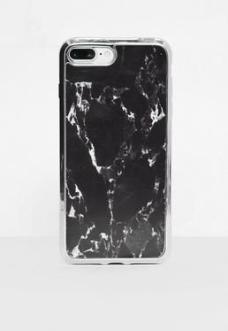 Coque pour iPhone 7 + noire marbrée