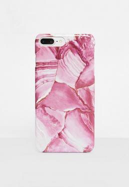 Coque pour iPhone 7 rose marbrée