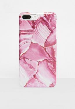 iPhone 7 Plus Hülle mit pinker Marmorierung