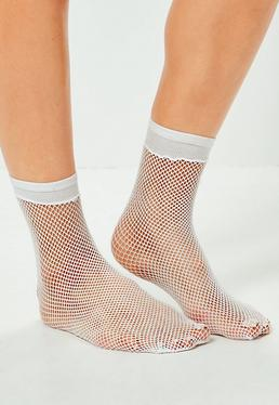 White Fine Fishnet Socks
