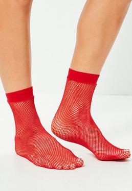 Red Fine Fishnet Socks