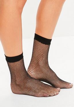 Black Metallic Fine Fishnet Socks