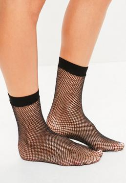 Black Metallic Fine Fishnet Socks