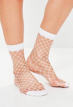 White Oversized Fishnet Socks