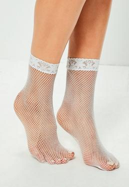 White Lace Top Fine Fishnet Socks