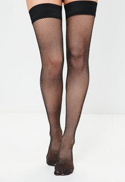 Black Glitter Fishnet Hold Up Tights