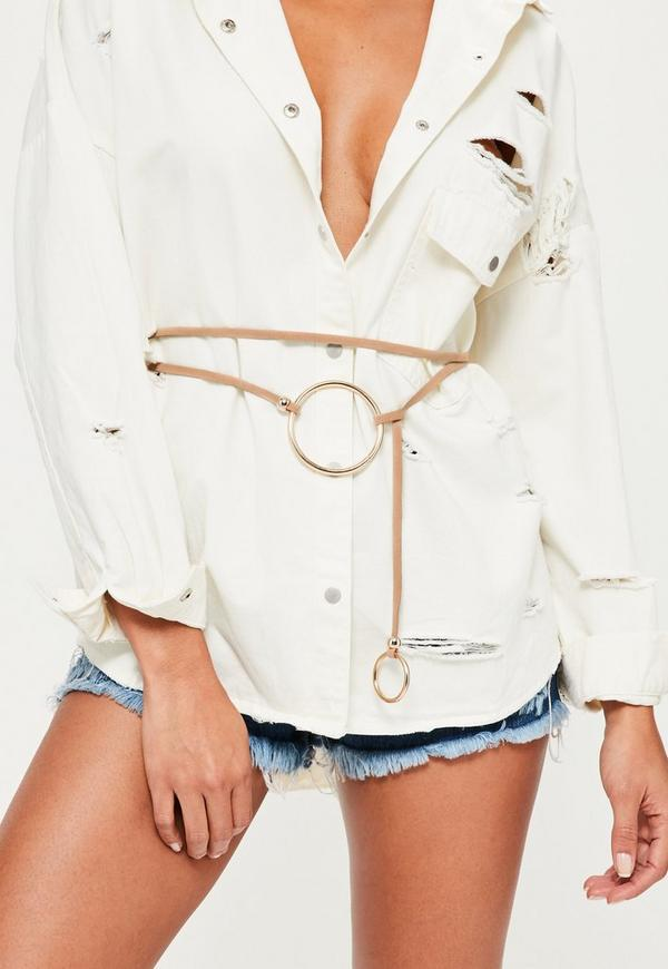 Nude Oversized Double Ring Detail Belt