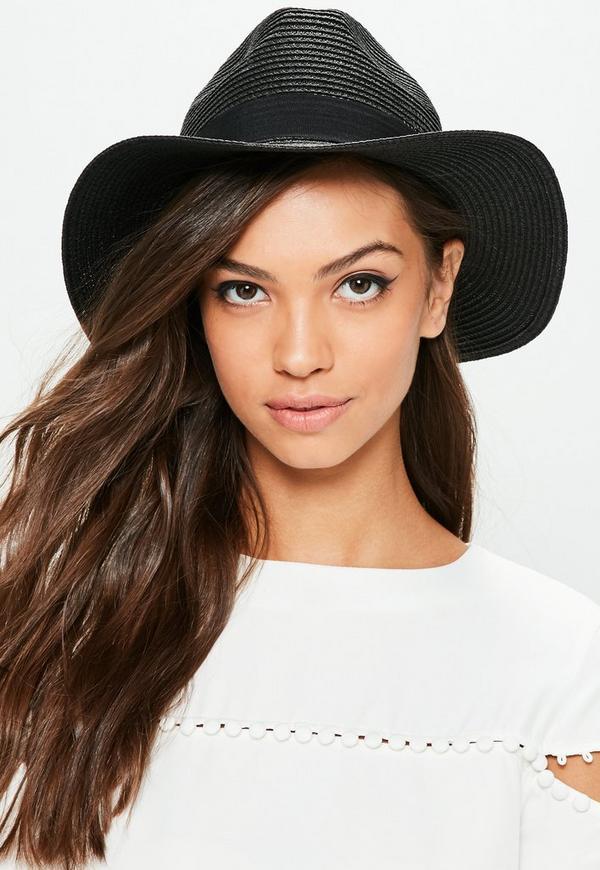 Black Band Detail Straw Hat