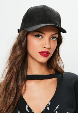 Czarna sztruksowa czapka z daszkiem