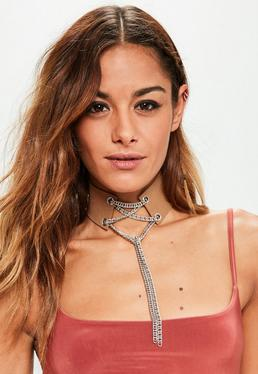Camel Lace Up Chain Detail Choker Necklace