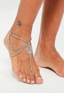 Silver Hamsa Hand Anklet