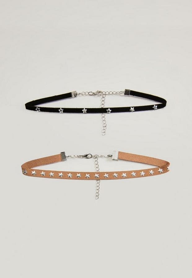 Image of 2 Pack Star Studded Choker Necklaces, Beige