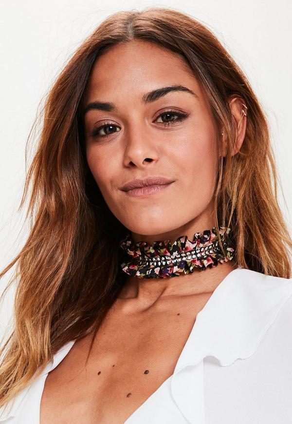 Black Floral Ruffle Studded Choker Necklace