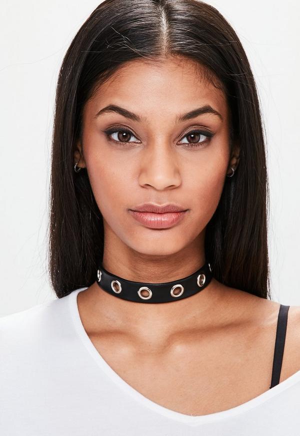 Black Eyelet Trim Choker Necklace