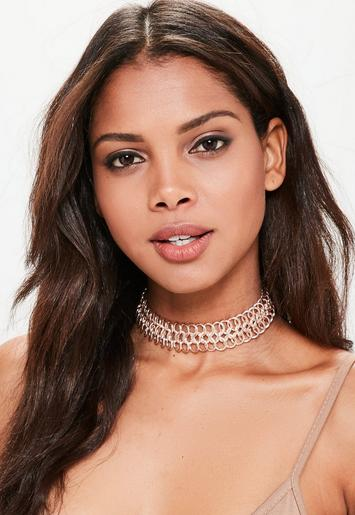Rose Gold Large Chainmail Choker Necklace - Missguided