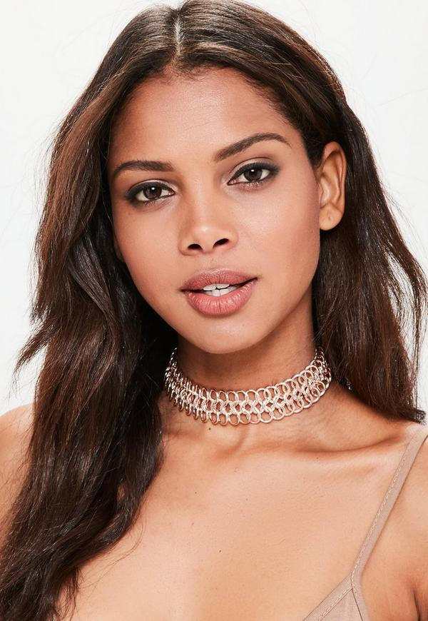 Rose Gold Large Chainmail Choker Necklace