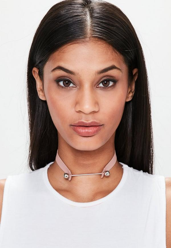 Pink Faux Leather Metal Bar Detail Choker Necklace