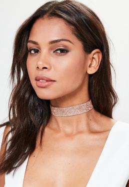 Rose Gold Diamante Choker Necklace