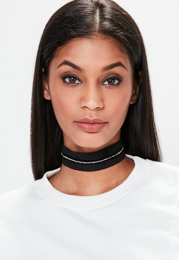 Black Mesh Chain Trim Woven Choker Necklace