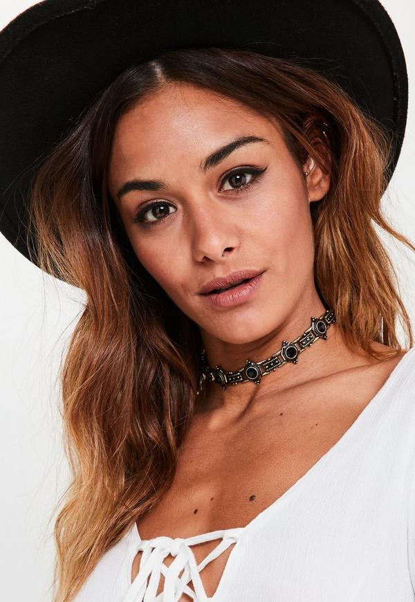Black Jeweled Stud Choker Necklace