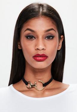 Black Piercing Trim Ring Choker Necklace