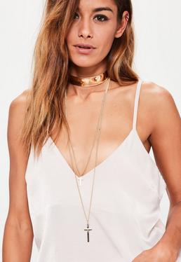 Gold Thick Bar Hanging Chain Choker Necklace