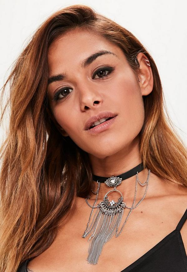 Black Hoop and Chain Detail Choker Necklace