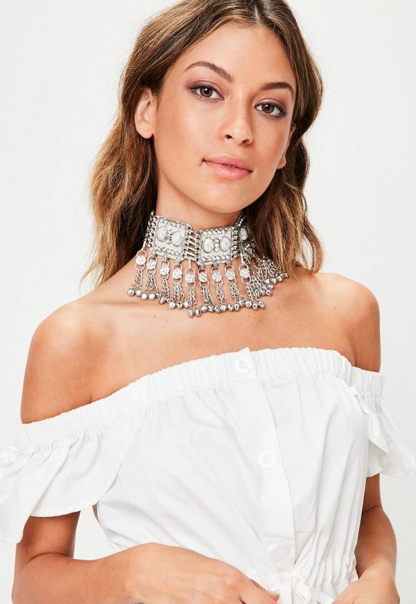 Silver Stone Statement Choker Necklace