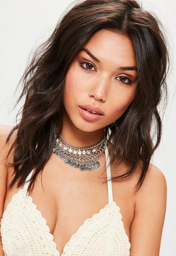 Silver Chain Trim Choker Necklace