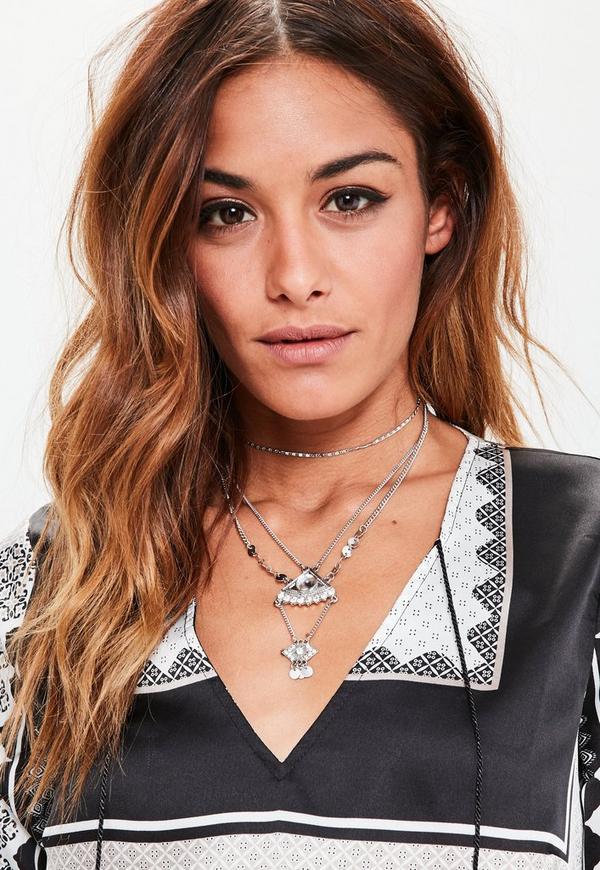 Silver Thin Pendant Choker Necklace
