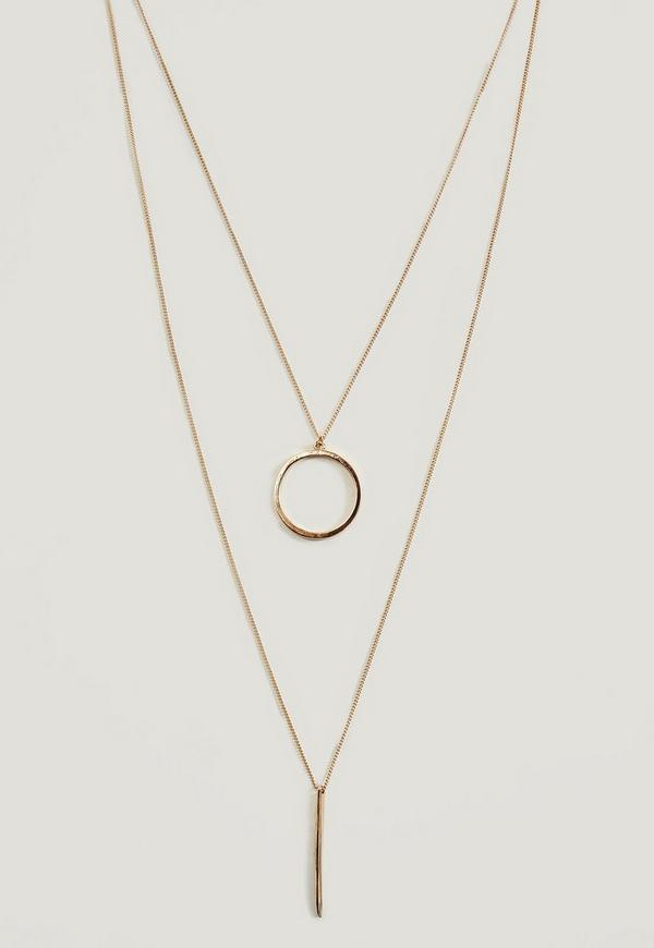Ideal Gold Double Chain Bar & Hoop Necklace | Missguided IM21