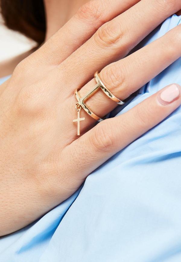 Gold Cross Drop Ring
