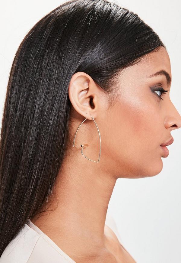 Gold Bar Hoop Earrings