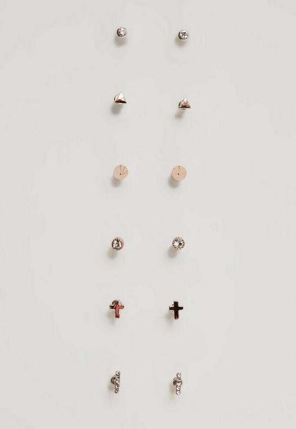 Rose Gold Stud Earrings Pack