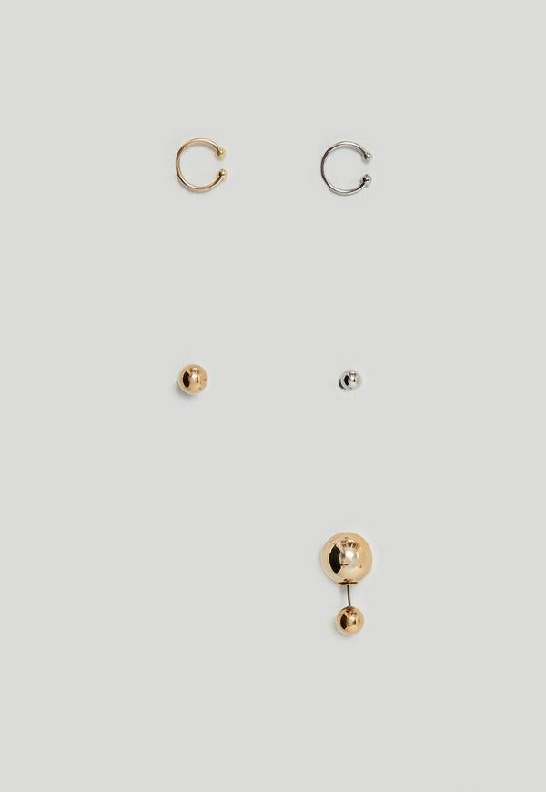 Gold Ball Earrings Set