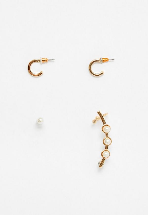 Gold Pearl Detail Ear Cuff Set