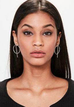 Silver Hoop Bar Earrings
