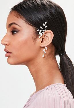 Ear cuff con forma de hoja en plateado