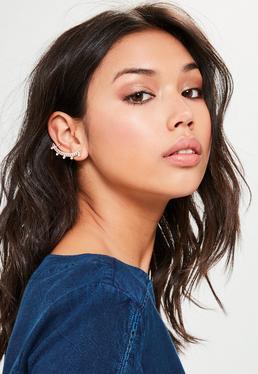 Bague d'oreille style or rose en forme de chaîne