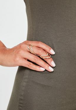 Podwójny łączony pierścionek w kolorze złota