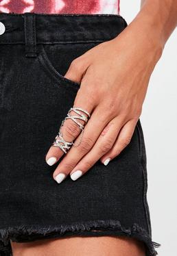 Silver Chain Diamante Ring