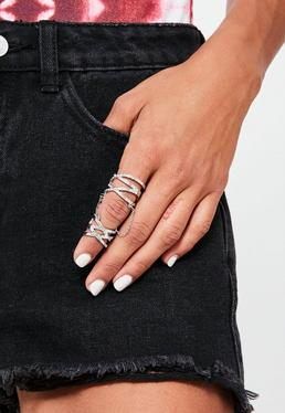 Silver Chain Diamante Ring
