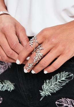 Silver Leaf Chain Ring